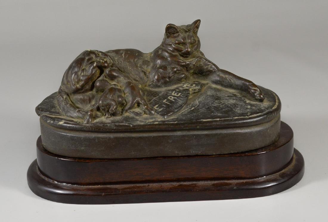 "Emmanuel Fremiet bronze on wood base ""Cat feeding he"