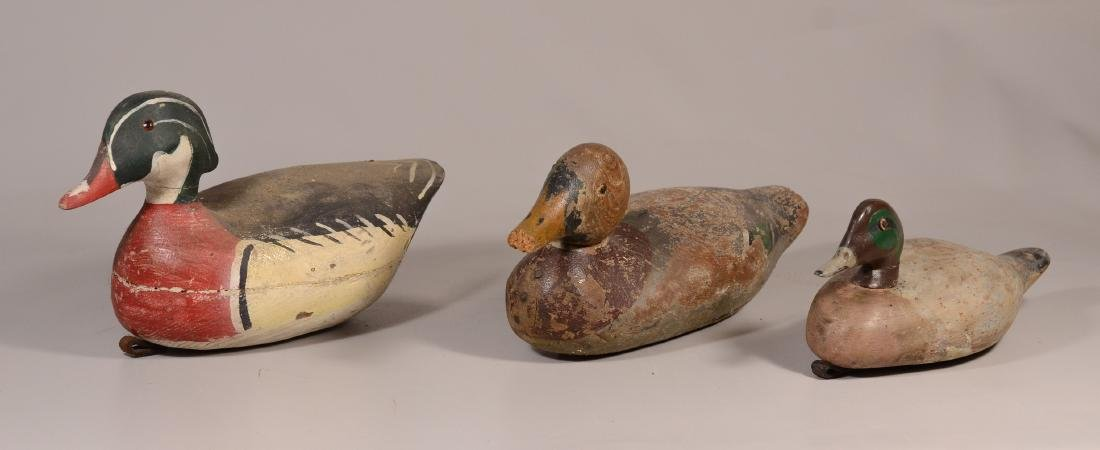 (3) Early Mallard Duck hand carved Decoys; rustic