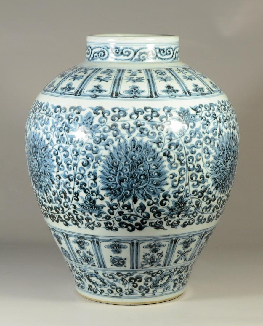 "Qing blue and white jar, 19""h"