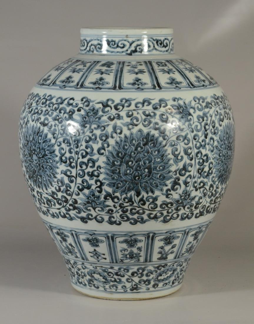 "Qing blue and white jar, 19""h - 7"