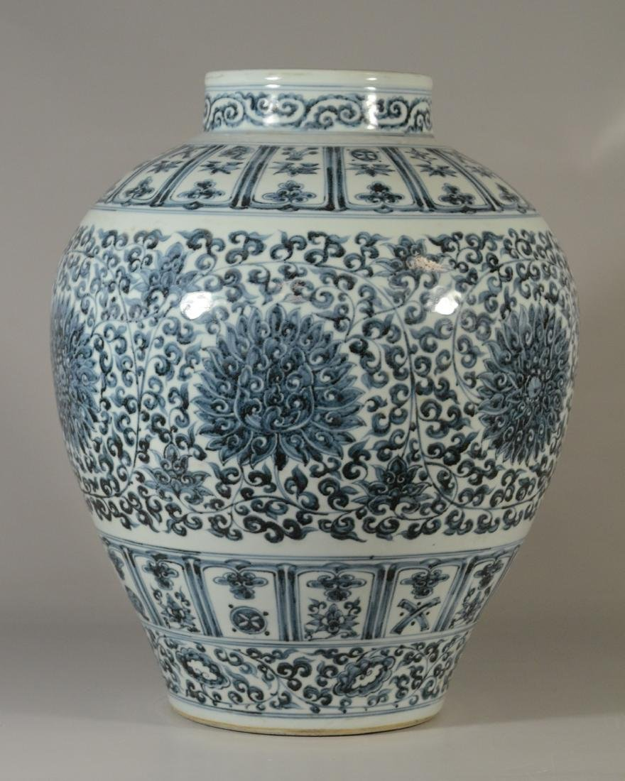 "Qing blue and white jar, 19""h - 8"