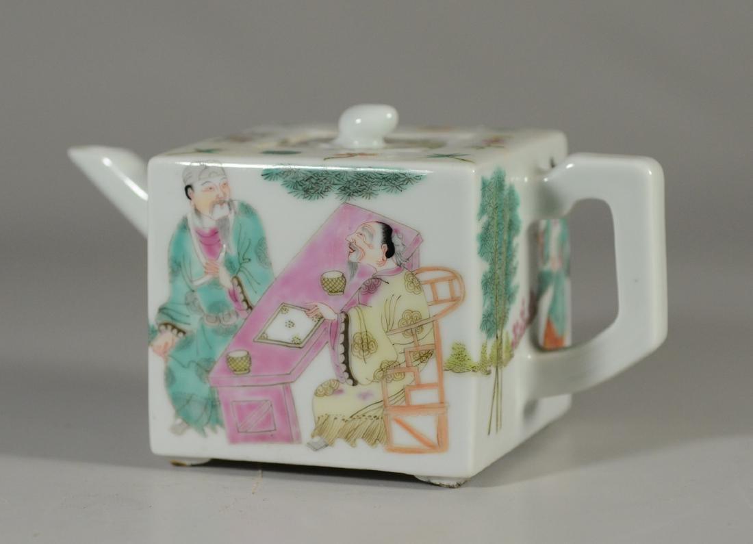 """Qing Famille rose teapot, 3-1/2"""" h"""