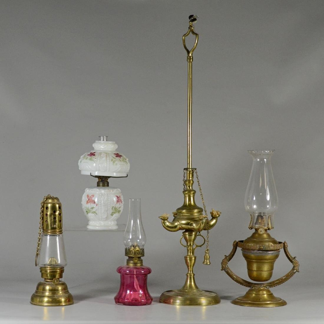 (5) Small oil lamps, including brass gimbal ship's lamp