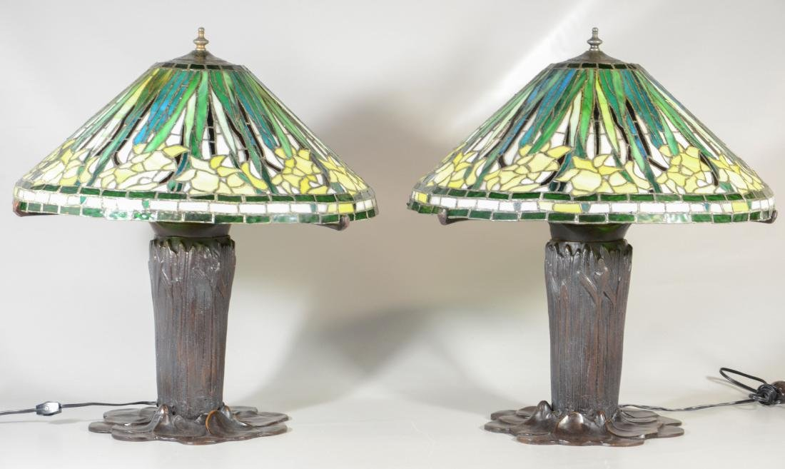 (2) Handel style leaded glass and bronze table lamps