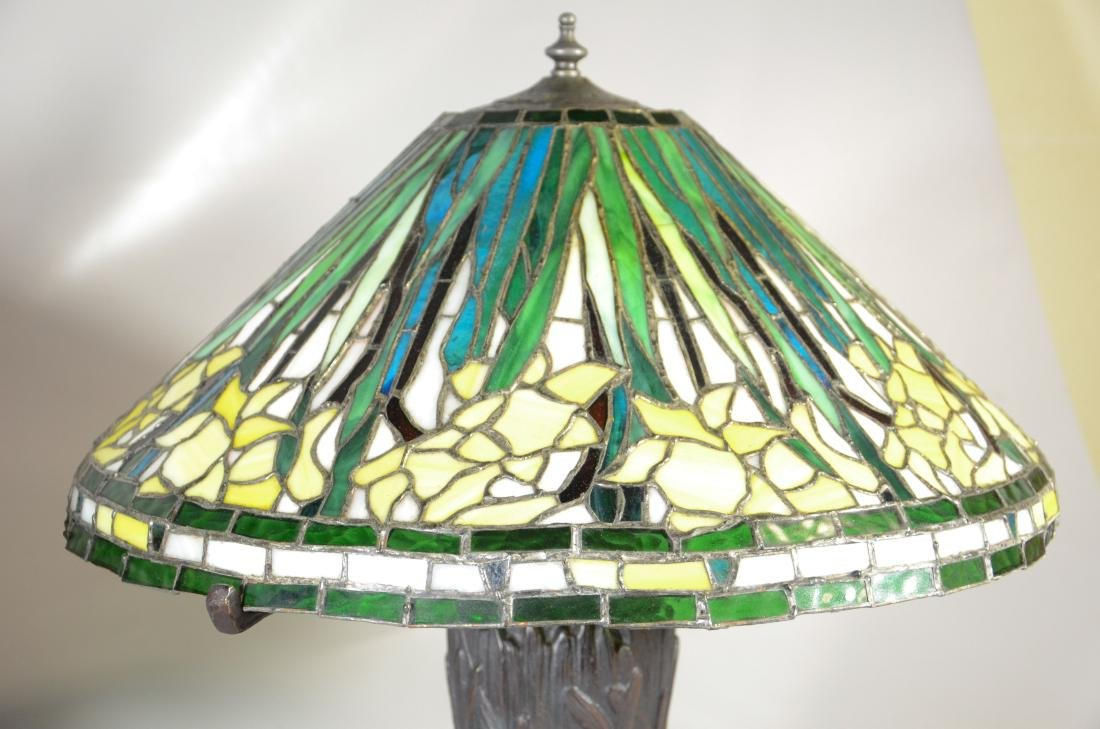 (2) Handel style leaded glass and bronze table lamps - 2