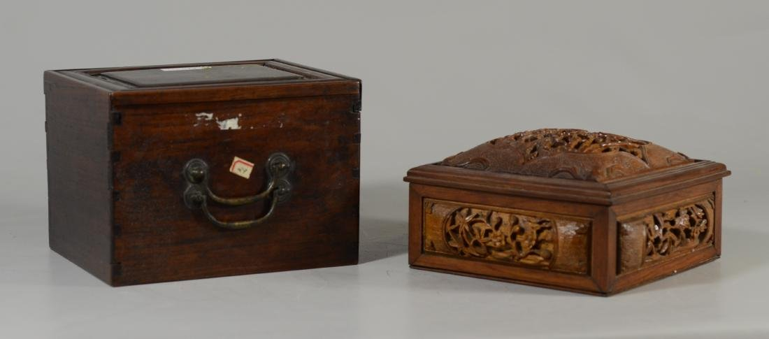 """Carved wood Chinese box, lift lid, 7 3/4"""" sq; with a"""