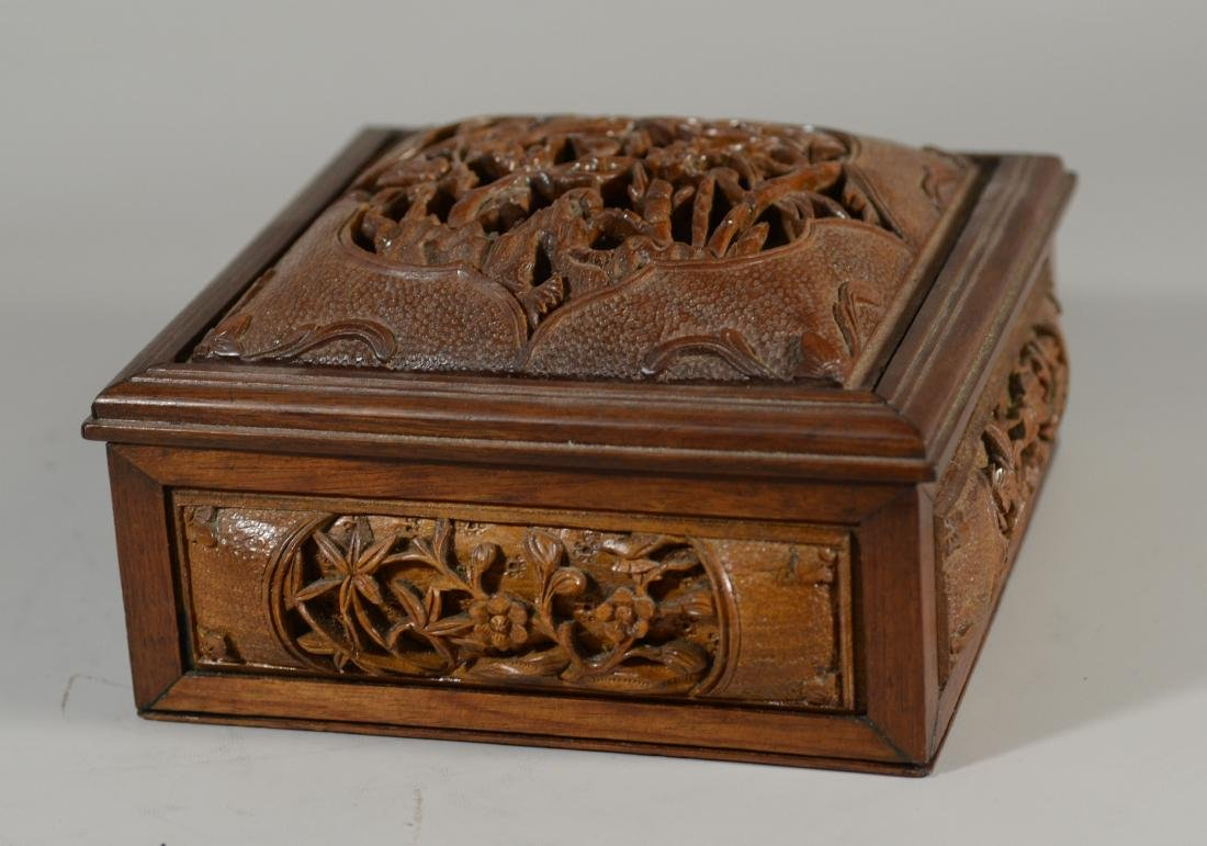 """Carved wood Chinese box, lift lid, 7 3/4"""" sq; with a - 2"""