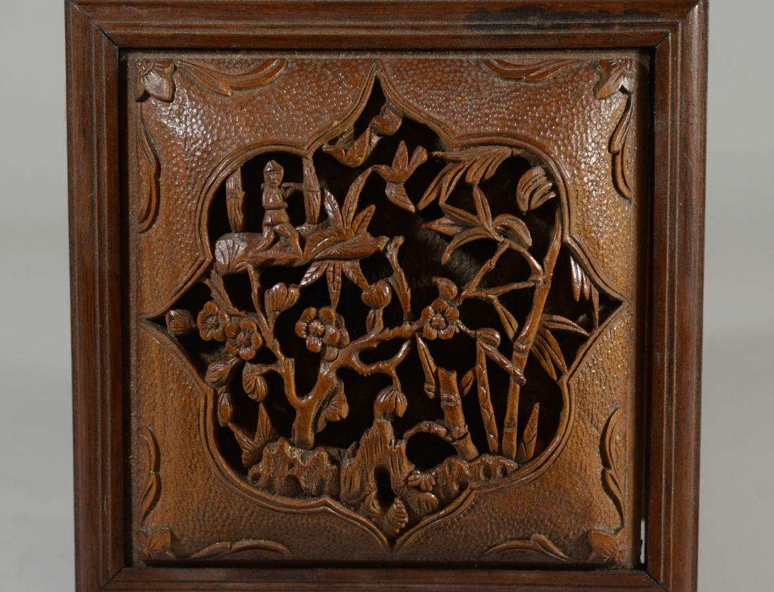 """Carved wood Chinese box, lift lid, 7 3/4"""" sq; with a - 3"""