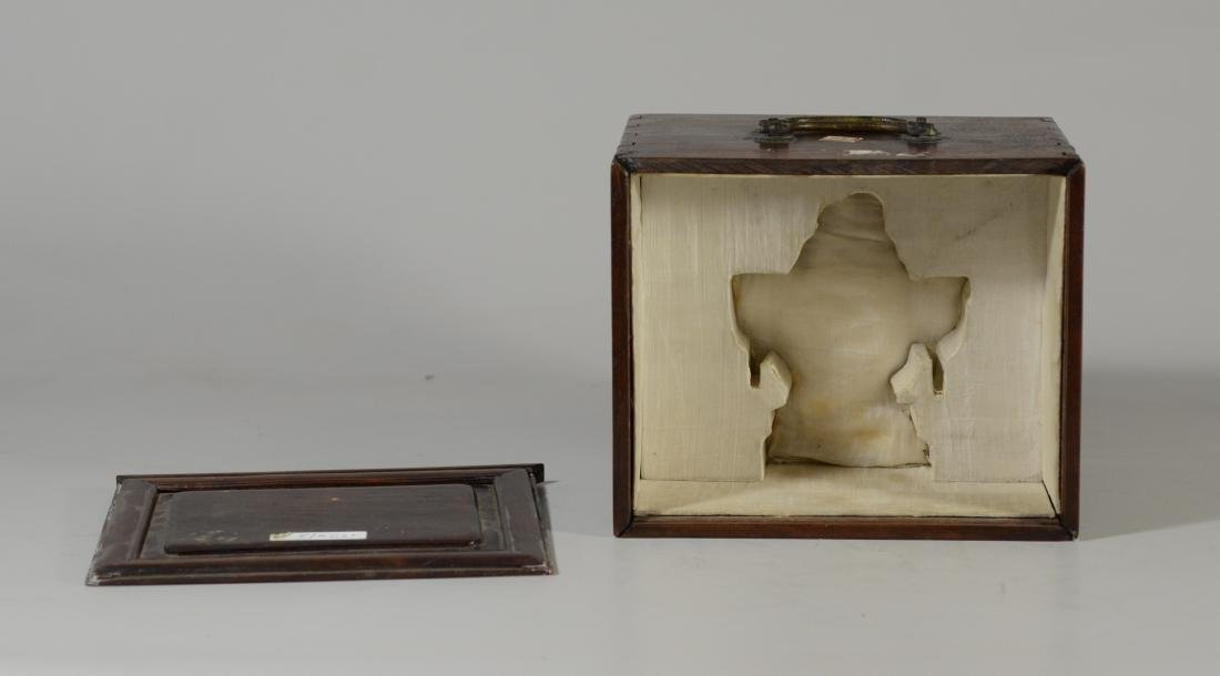 """Carved wood Chinese box, lift lid, 7 3/4"""" sq; with a - 4"""