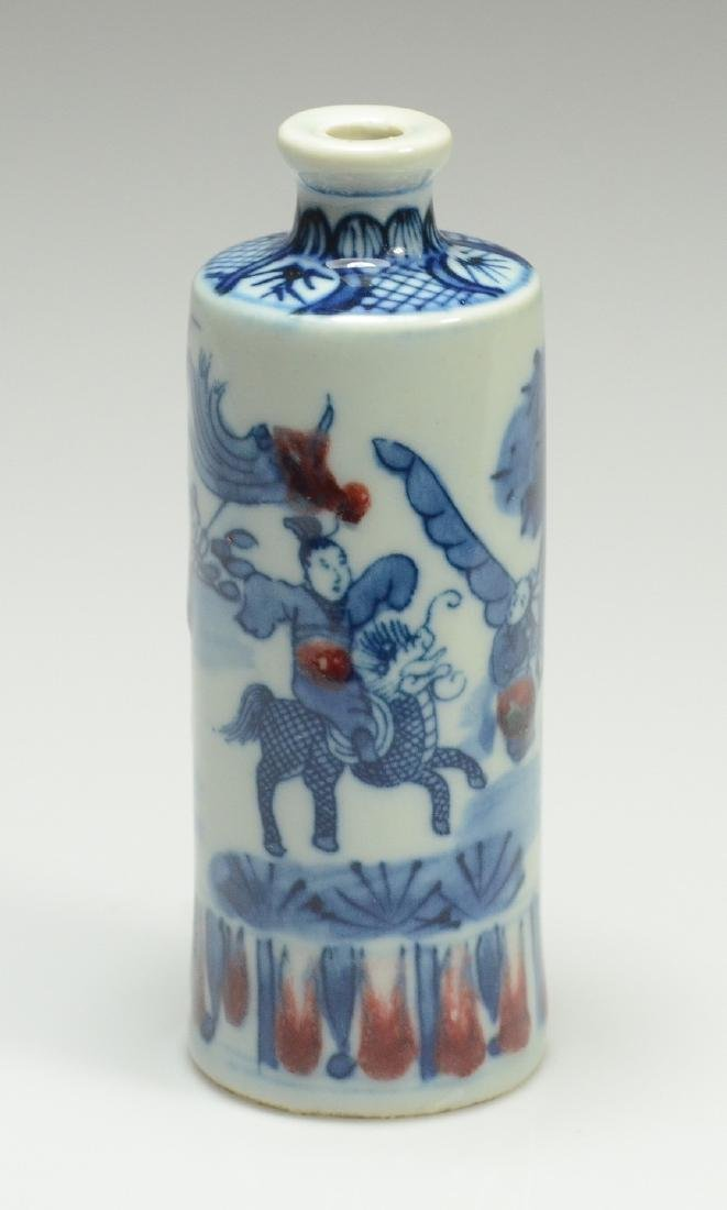 Chinese snuff bottle, underglaze blue and red