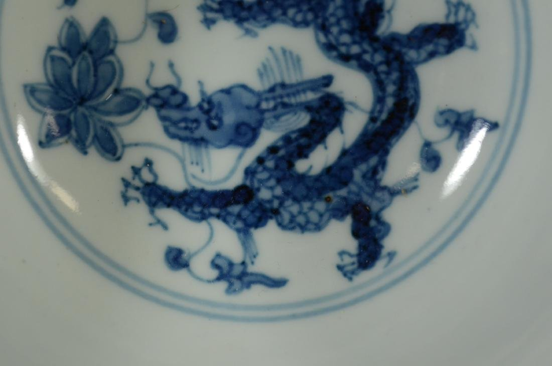Chinese blue and white dragon decorated bowl - 10
