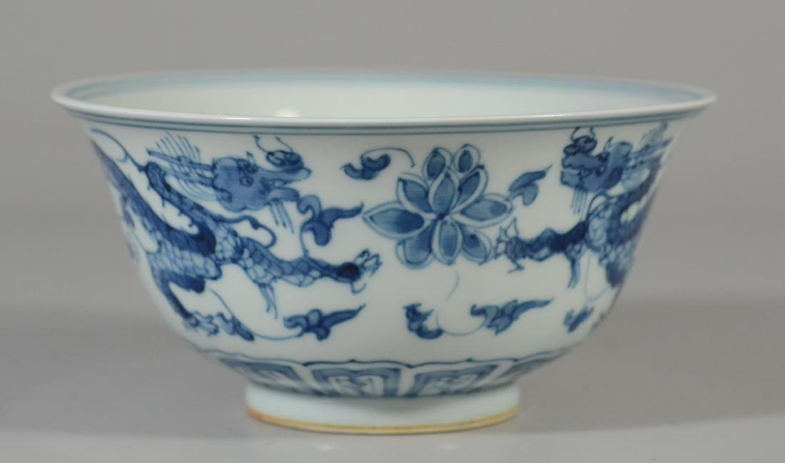 Chinese blue and white dragon decorated bowl - 3