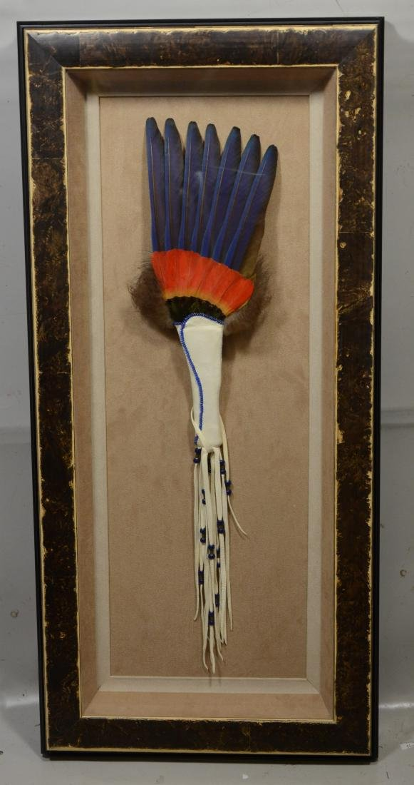 Vintage Native American headdress in shadowbox, 25""