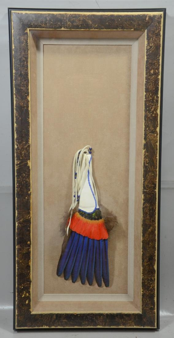 "Vintage Native American headdress in shadowbox, 25"" - 2"
