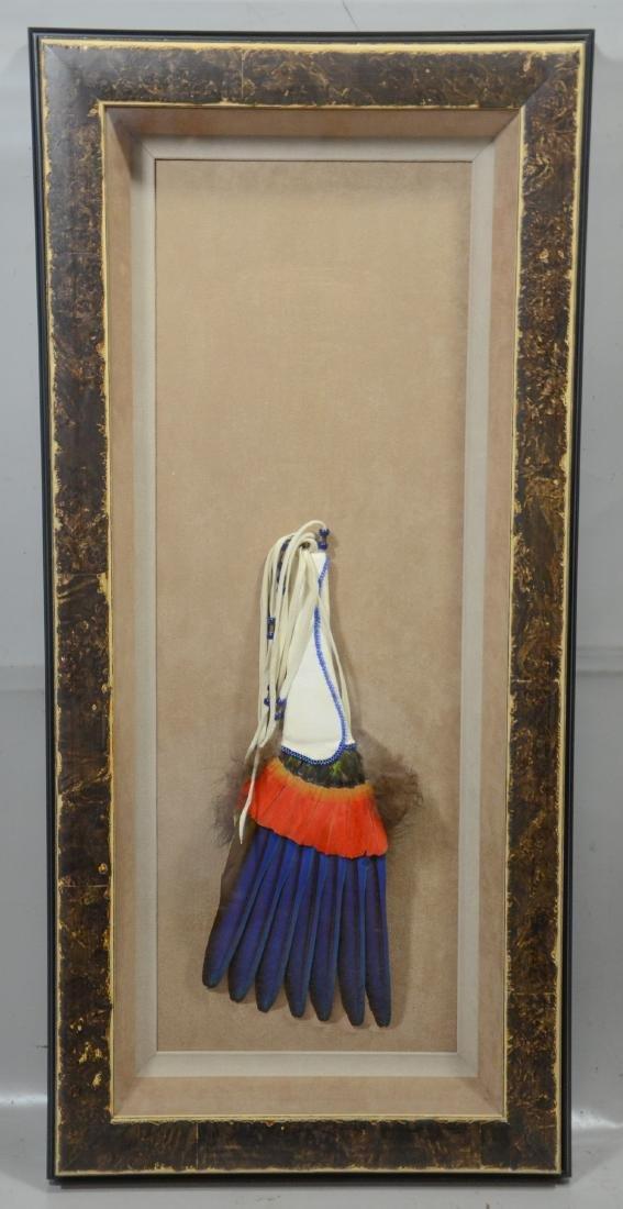 "Vintage Native American headdress in shadowbox, 25"" - 2"