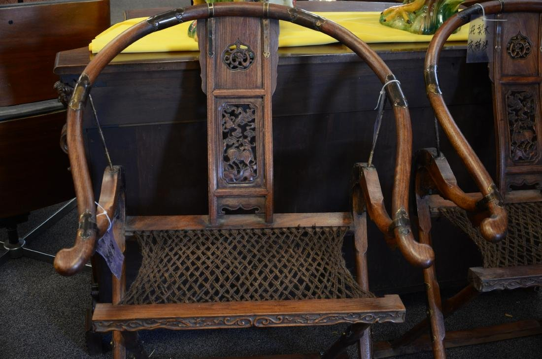 Pair Asian style carved Rosewood folding chairs - 3