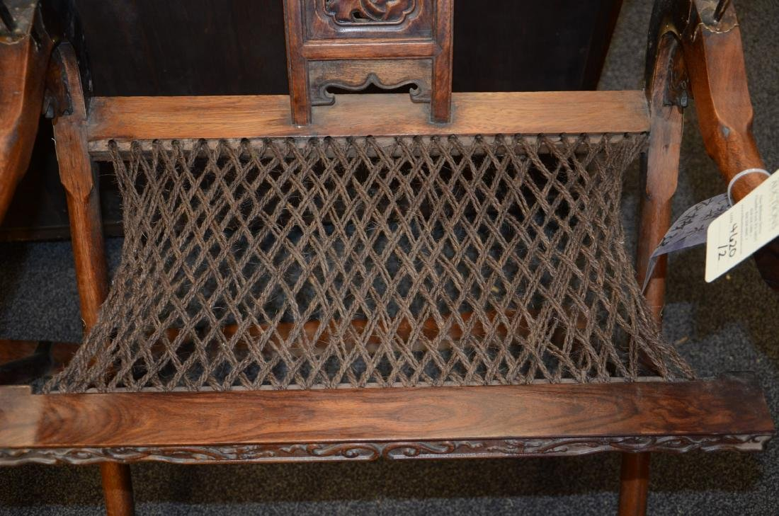 Pair Asian style carved Rosewood folding chairs - 5