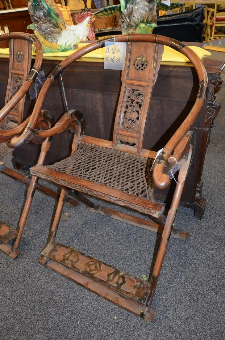 Pair Asian style carved Rosewood folding chairs - 6
