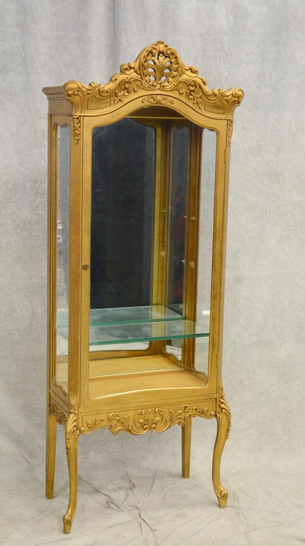 Louis XV style gilt carved china cabinet