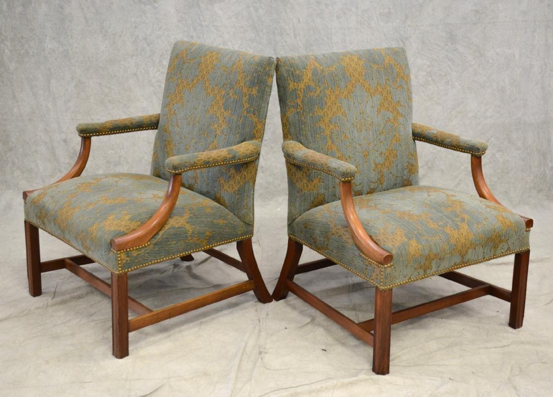 Pair Martha Washington upholstered armchairs