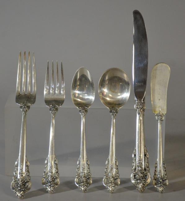 48 pc Wallace Grand Baroque sterling silver flatware - 2