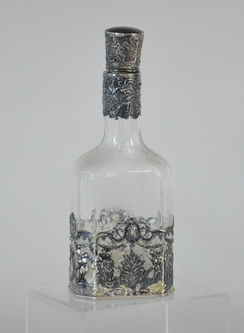 Continental solid silver mounted cut crystal liqueur