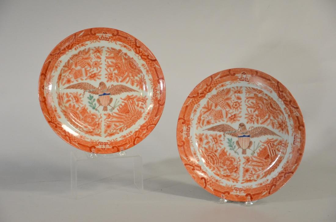 Pr Chinese orange Fitzhugh plates with eagle