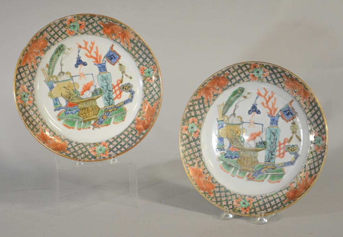 "Pr Chinese porcelain plates, ""1000 Antiques"""