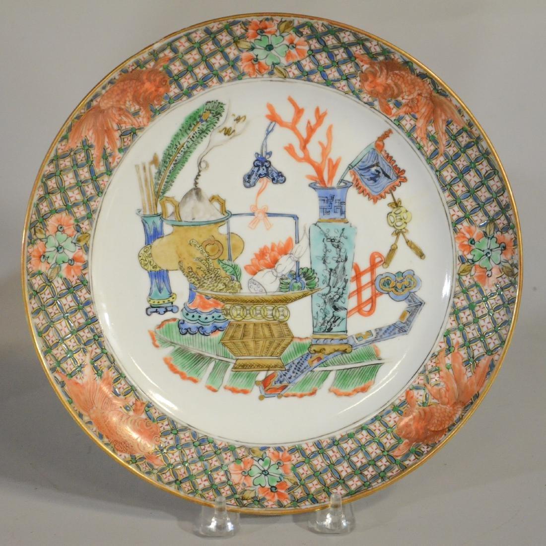 "Pr Chinese porcelain plates, ""1000 Antiques"" - 2"