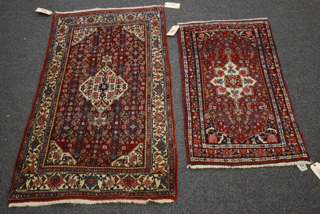 "Lot of 2 Persian Bidjar rugs 3'3""x5'7"" and 2'6""x4'3"""