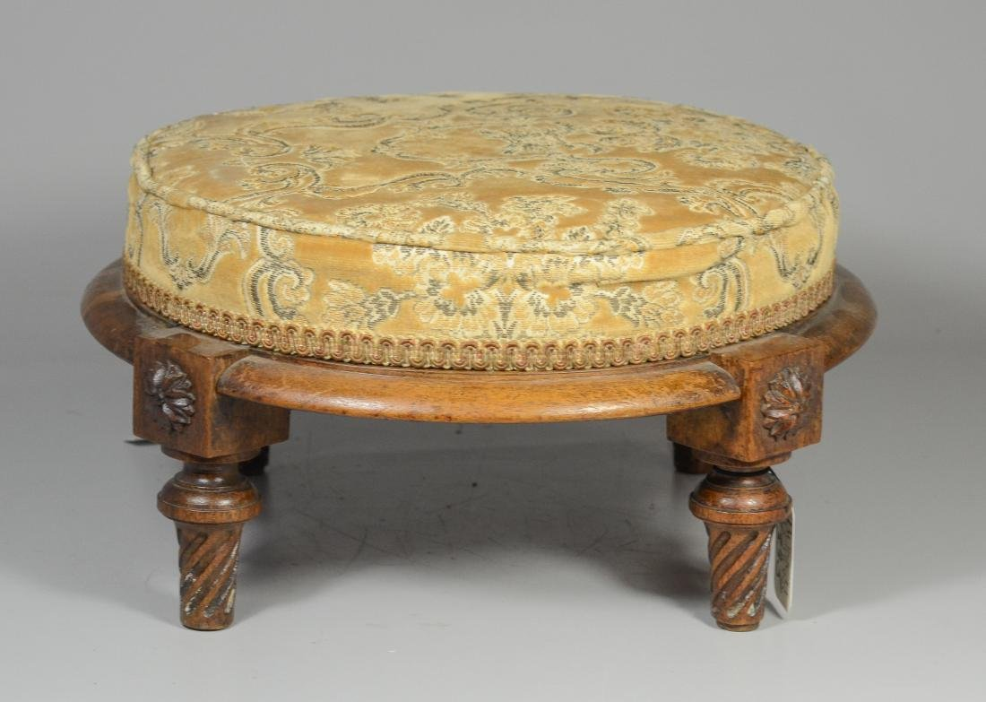 French Louis XVI footstool with turned legs