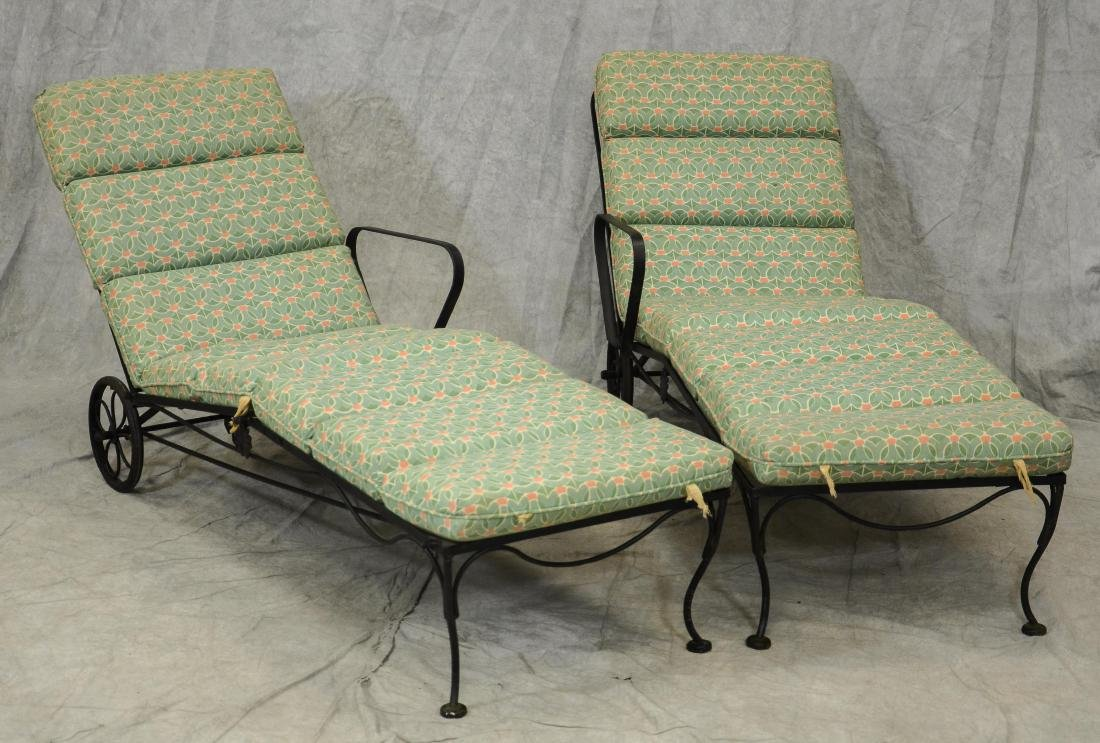 (2) Metal chaise lounges
