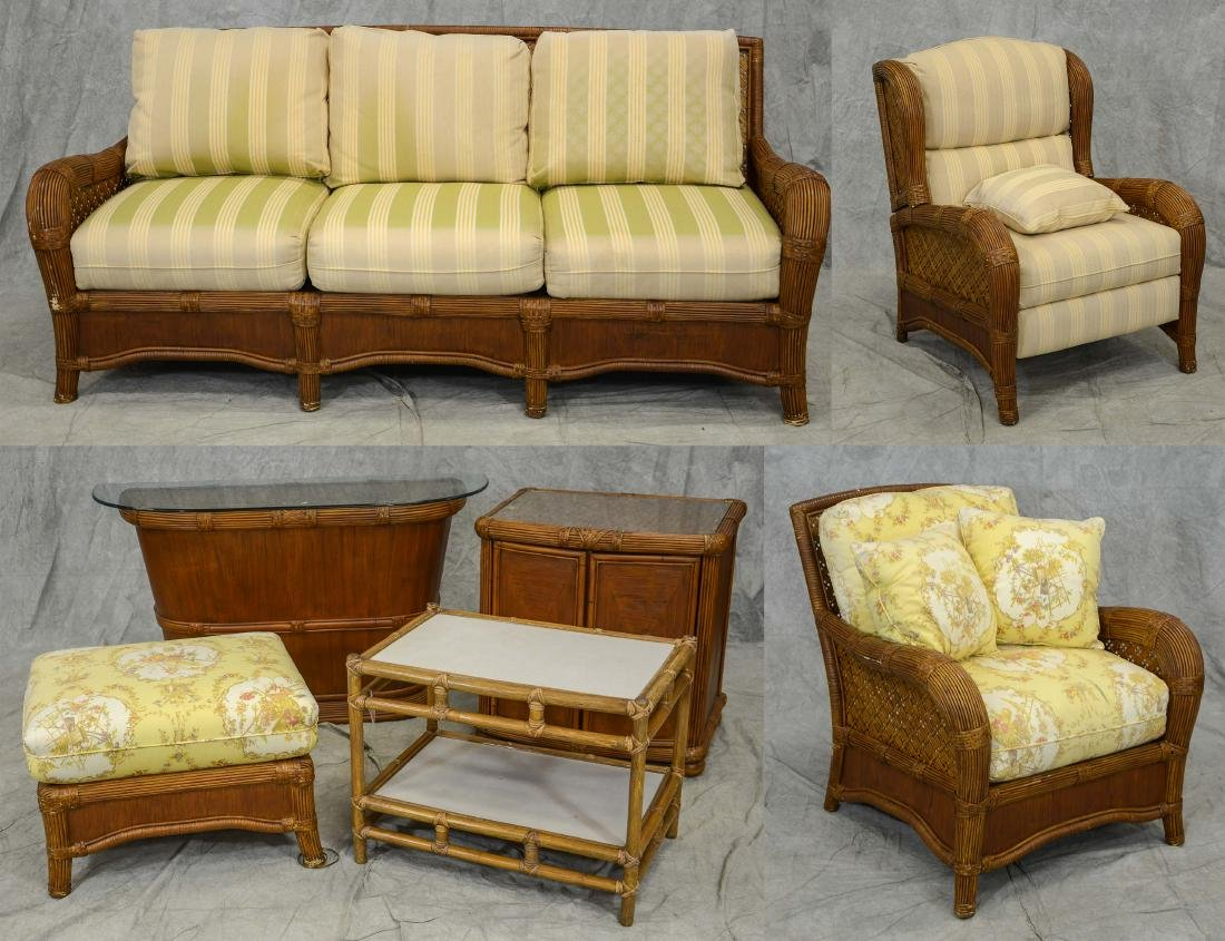 (7) Pc wicker and rattan patio set by Tradewinds