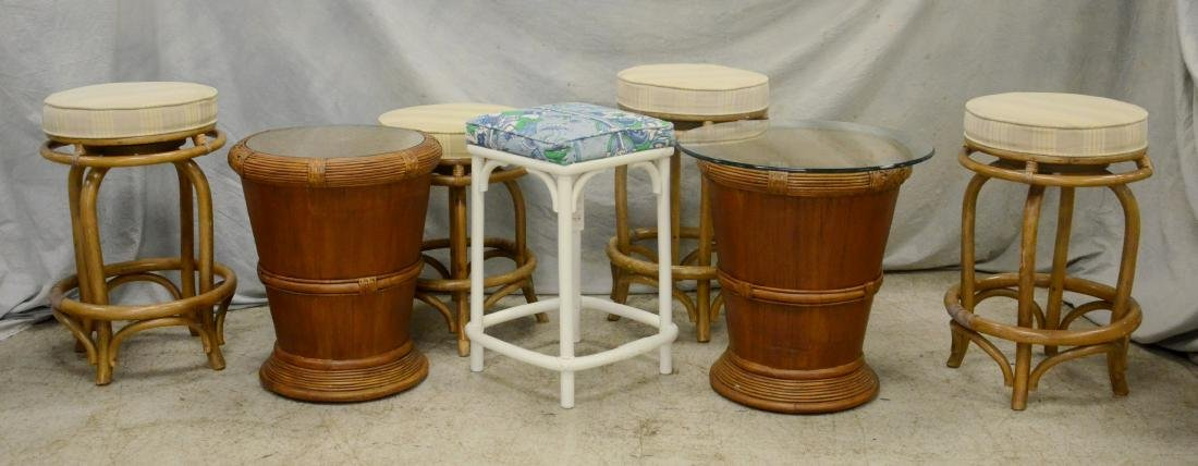 2 Glass top end tables & 5 rattan stools