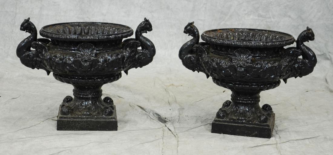 Pr cast iron planters with dragon handles