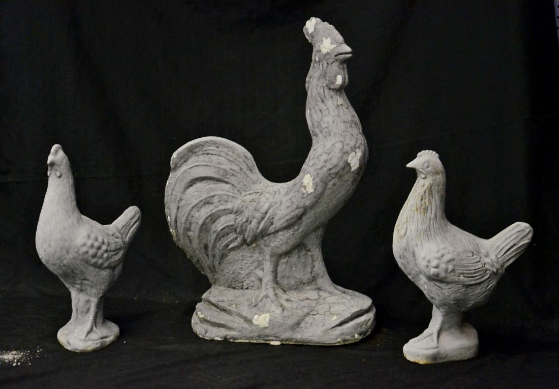 2 pr cast iron chickens/roosters - 2