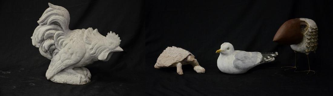 (4) Cast stone animal figures