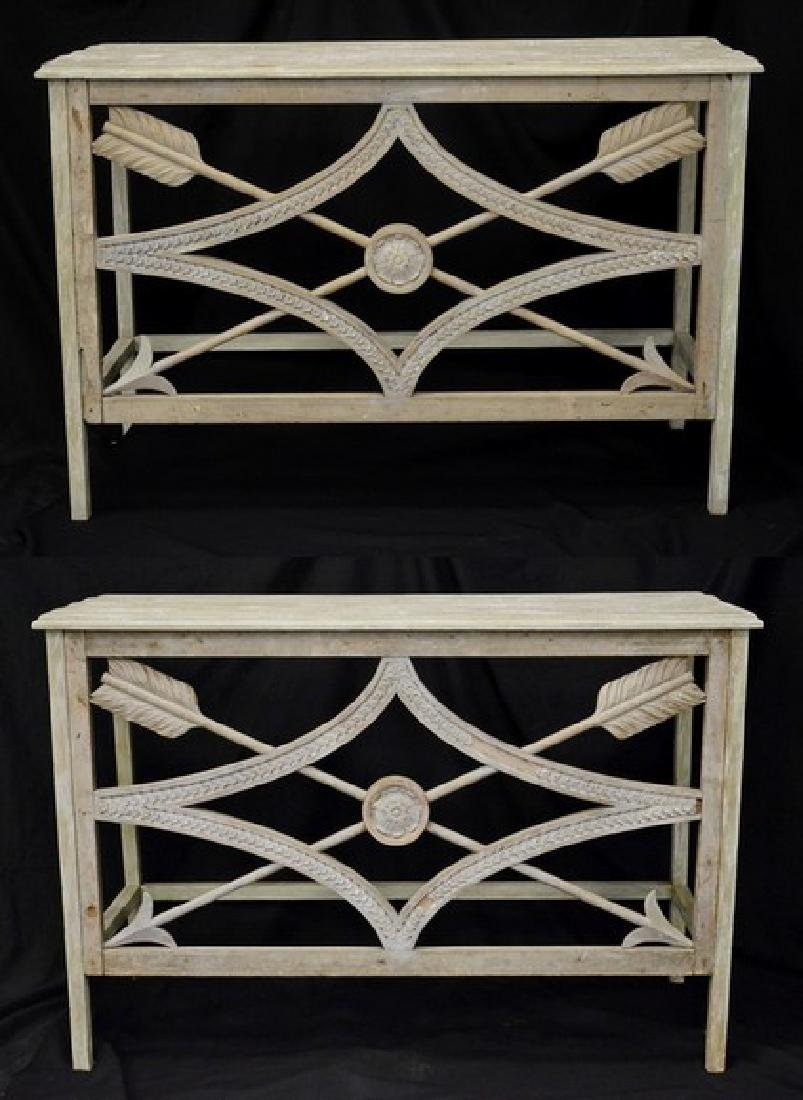 Pair of Painted French style console tables