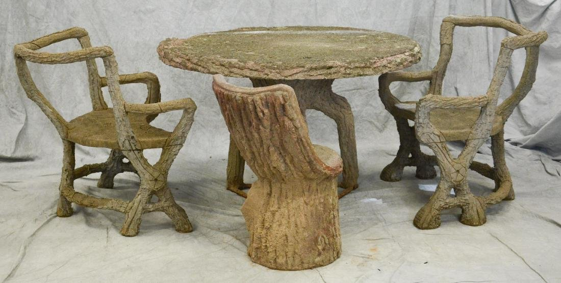 4 pc tree trunk form cast stone patio set