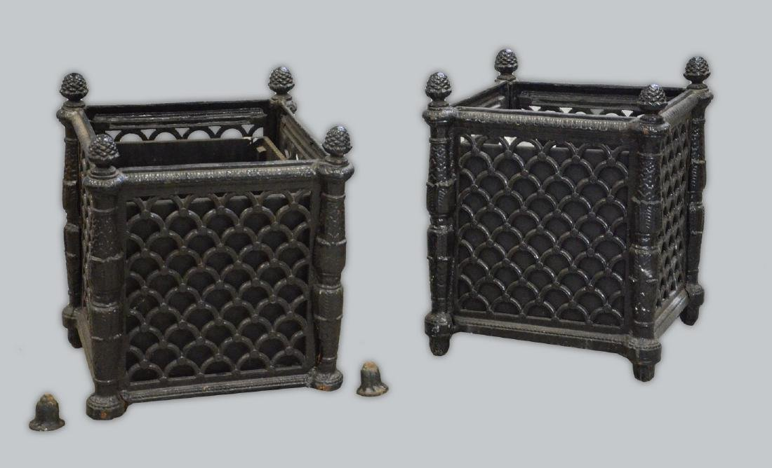 Pr cast iron Victorian style planters