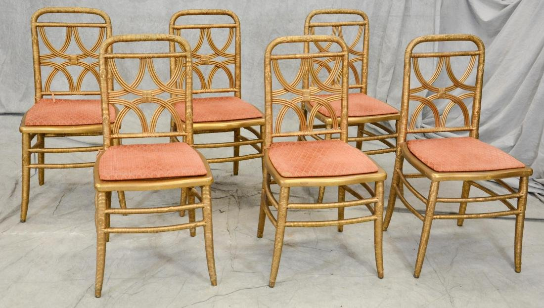 (29) Gilt rattan caned seat banquet chairs by Heywood