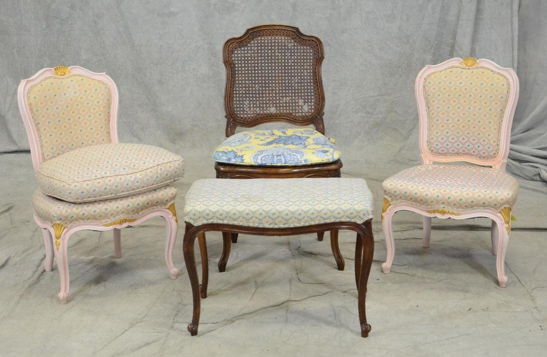 3 Louis XV style side chairs