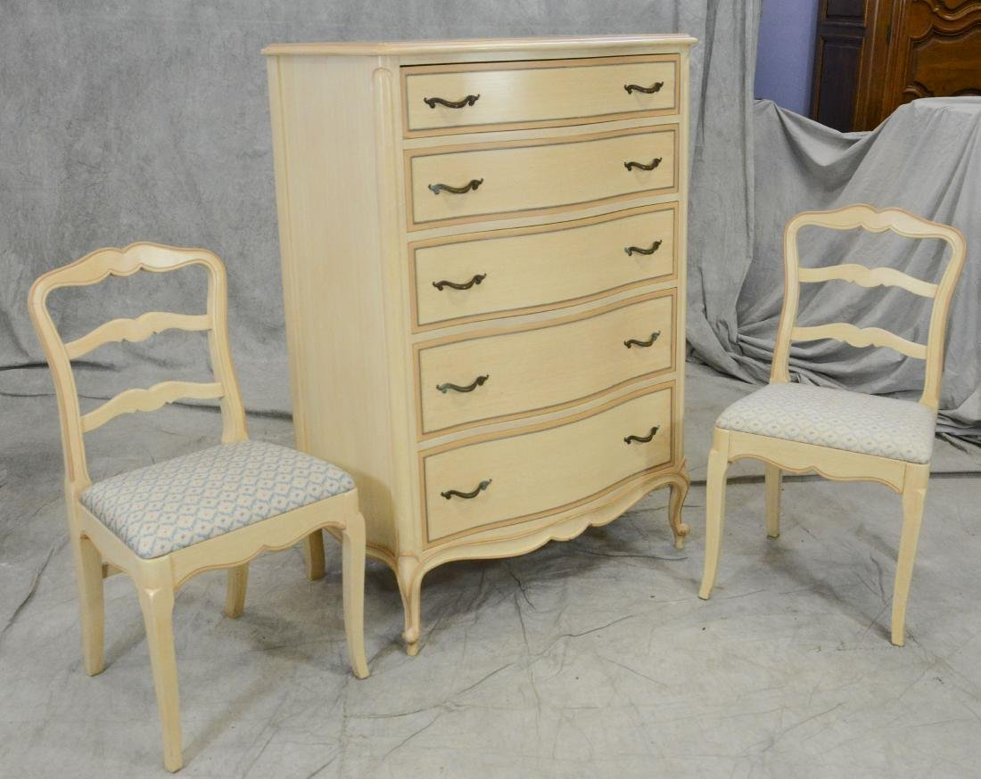 Drexel cream and gilt painted 5 drawer tall chest