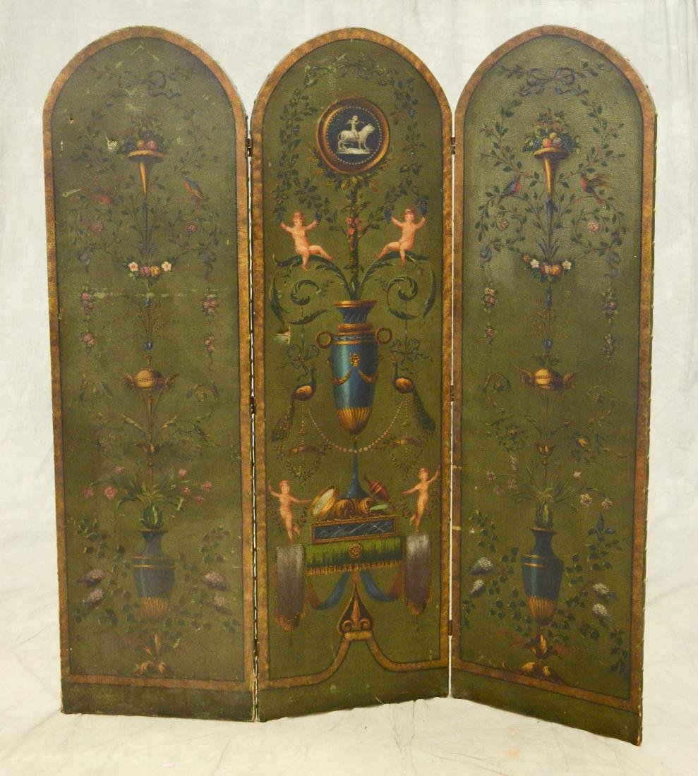 3 panel painted leather screen, floral urn and cherub