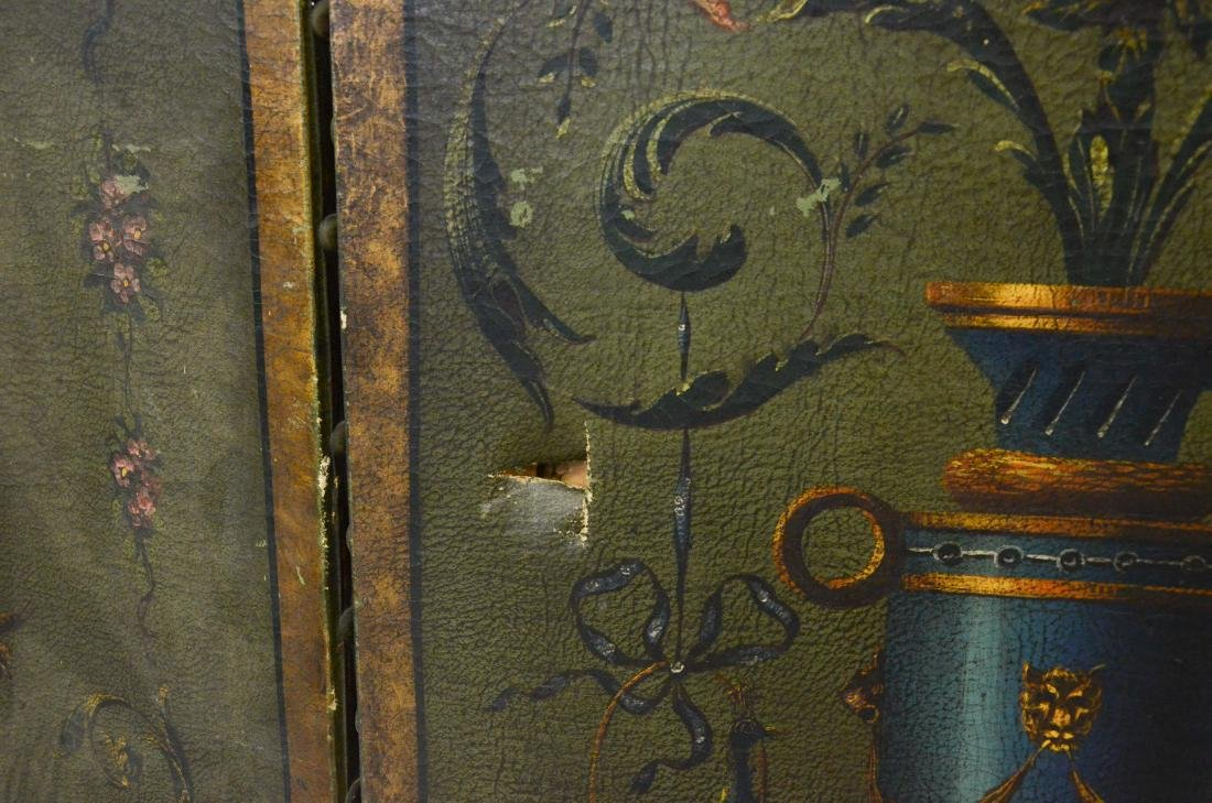 3 panel painted leather screen, floral urn and cherub - 2