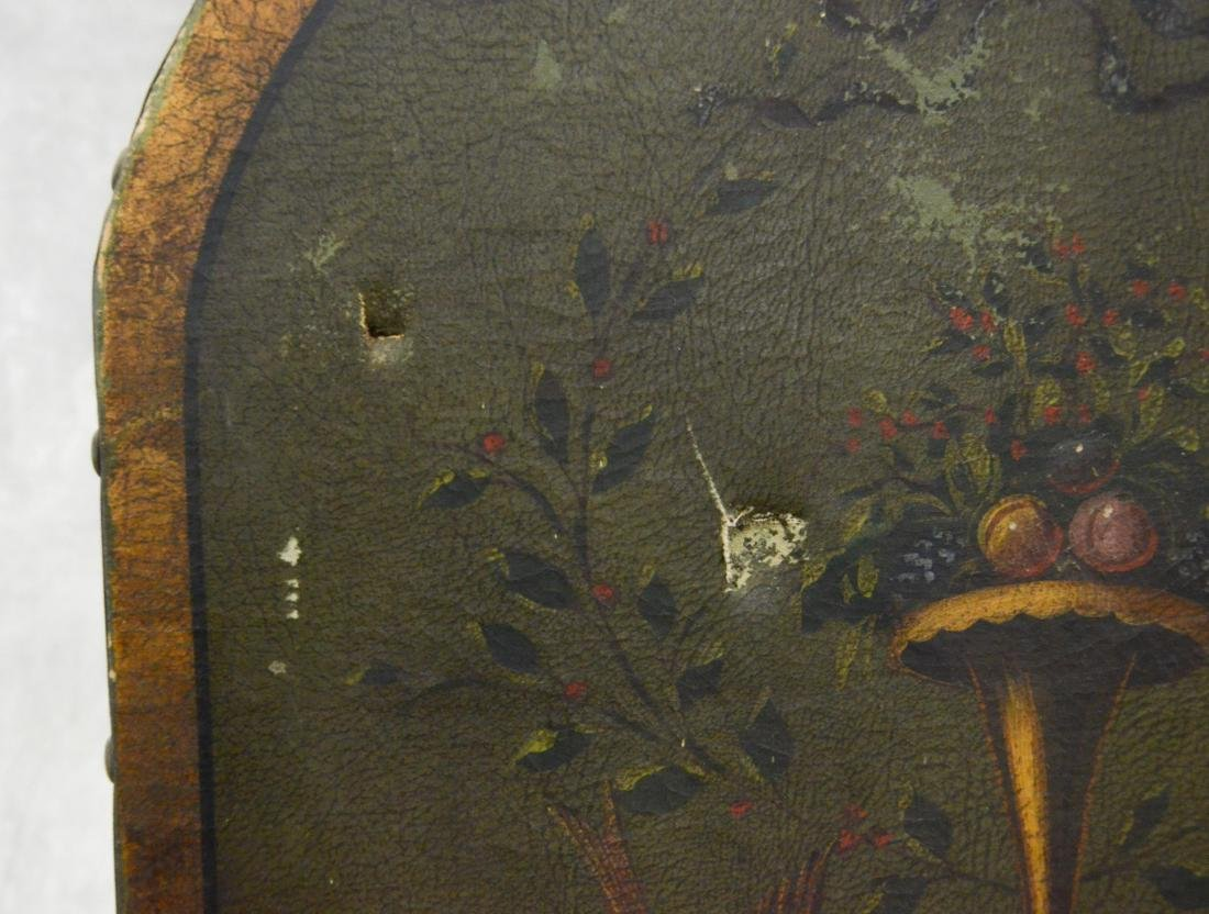 3 panel painted leather screen, floral urn and cherub - 4