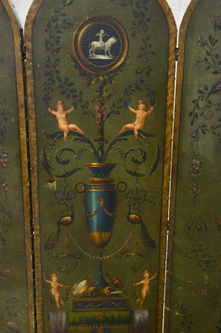 3 panel painted leather screen, floral urn and cherub - 6