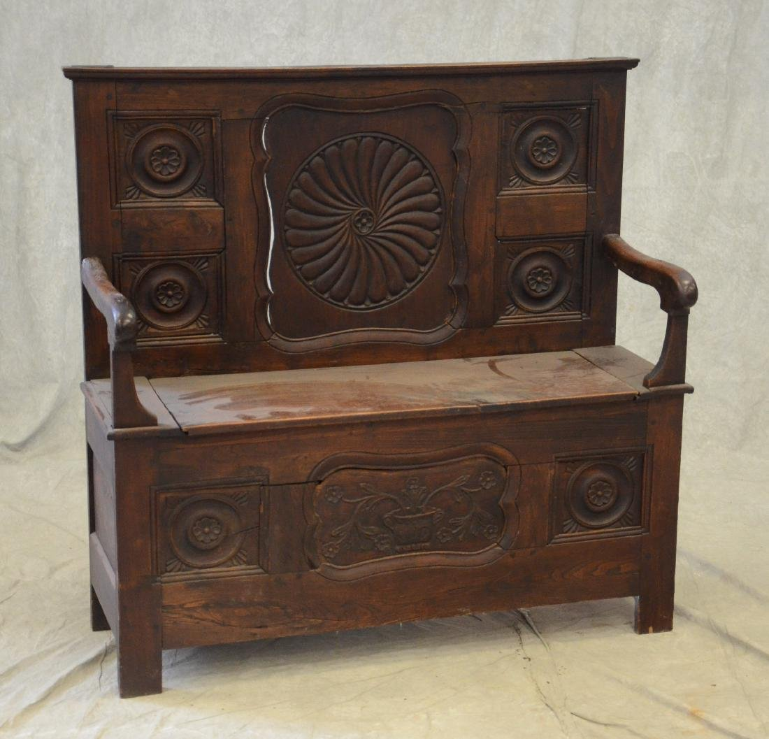 French elmwood hall bench with lift seat