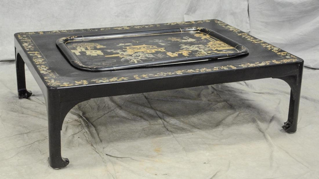 Silver and gold chinoiserie decorated black lacquered
