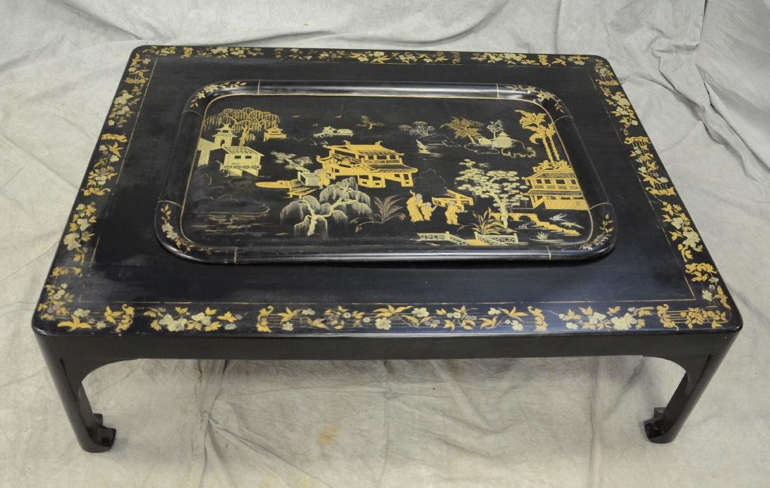 Silver and gold chinoiserie decorated black lacquered - 2